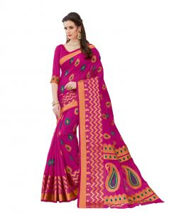 De Marca Dark Pink Raw Silk Saree (code - Viv222)