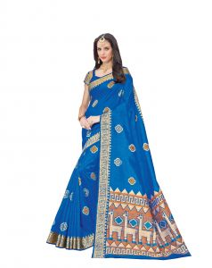 De Marca Blue Raw Silk Saree (code - Viv223)