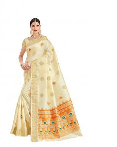 De Marca Off White Raw Silk Saree (code - Viv224)