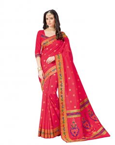 De Marca Dark Pink Raw Silk Saree (code - Viv227)