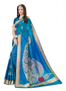De Marca Blue Raw Silk Saree (code - Viv229)