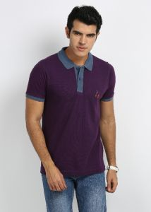 27ashwood Purple Stripped Cotton Polo T-shirts For Men