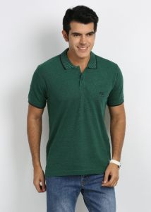 27ashwood Men's Wear - 27Ashwood Green Stripped Cotton Polo T-Shirts For Men