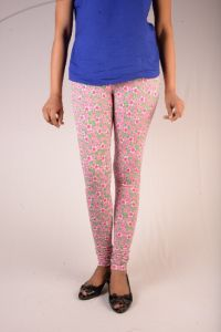 27ashwood Rose & Green Printed Cotton Lycra Legging For Women