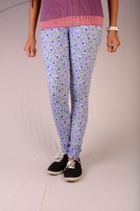 27ashwood Lavender & Green Printed Cotton Lycra Legging For Women