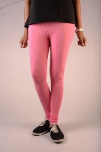27ashwood Pink & White Dots Printed Cotton Lycra Legging For Women