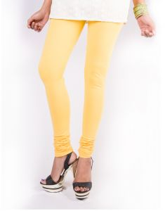 27ashwood Yellow Solid Cotton Lycra Leggings For Women