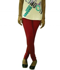 27ashwood Red Solid Cotton Lycra Leggings For Women