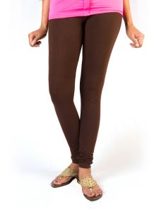27ashwood Brown Solid Cotton Lycra Leggings For Women