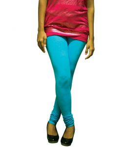 27ashwood Turquoise Solid Cotton Lycra Leggings For Women