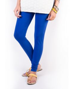 27ashwood Royal Blue Solid Cotton Lycra Leggings For Women