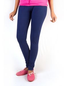 27ashwood Navy Solid Cotton Lycra Leggings For Women