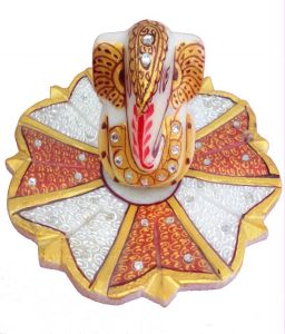 Marble Flower Golden Ganesh