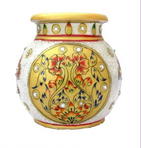 Golden Flower Work Marble Pot