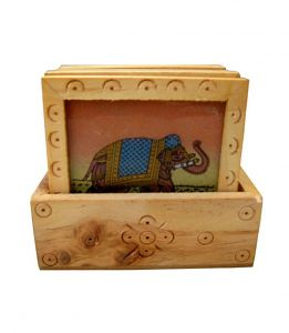 Elephant Painted Coaster Set