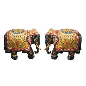 Wooden Handicrafts - Designed Wooden Elephant pair