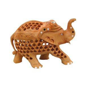 Wooden Elephant With Jali Design
