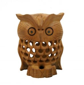 Wooden Owl With Jali Work
