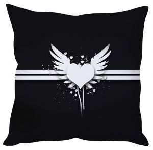 Stybuzz Feather Heart Cushion Cover