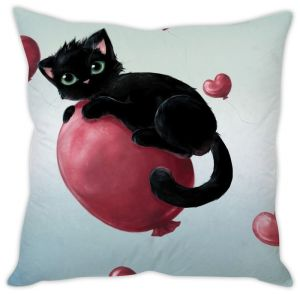 Stybuzz Cute Black Cat Cushion Cover