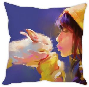 Stybuzz Girl With Rabbit Cushion Cover