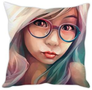 Stybuzz Girl With Glasses Cushion Cover