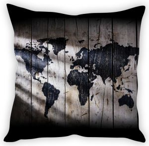 Stybuzz Map On Wood Cushion Cover
