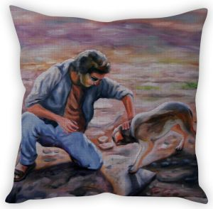 Stybuzz Man With Dog Painting Cushion Cover