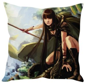Stybuzz Chinese Warrior Girl Cushion Cover