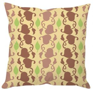 Pastel Yellow Leaf Print Cushion Cover