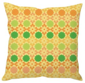 Yellow And Orange Floral Print Cushion Cover