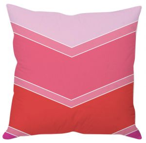 Red And Pink Color Block Print Cushion Cover