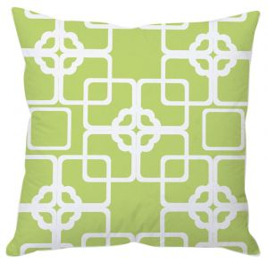 White And Green Block Print Cushion Cover