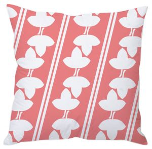 Pink And White Leaf Print Cushion Cover