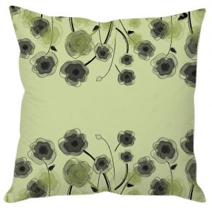 Grey And Green Floral Print Cushion Cover