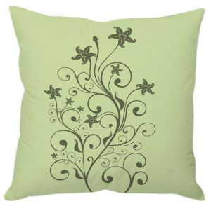 Forest Green Floral Abstract Cushion Cover
