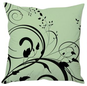 Black Leaf Abstract Green Cushion Cover