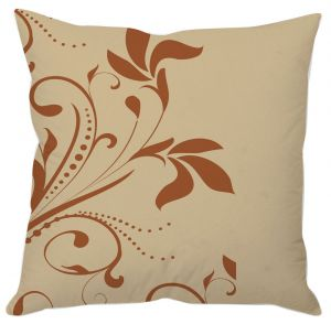Beige Floral Art Cushion Cover