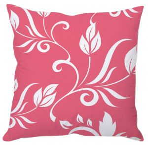 White Leaves On Pink Cushion Cover