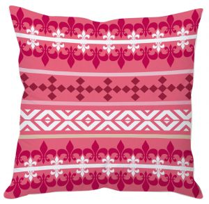 Pink And White Aztec Print Cushion Cover