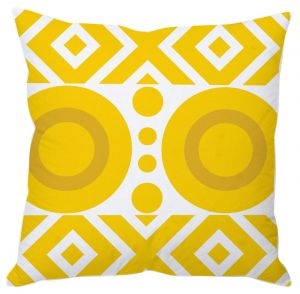 Mustard Yellow Abstract Art Cushion Cover