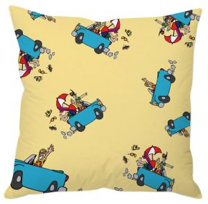 Colorful Picnic Car Print Cushion Cover