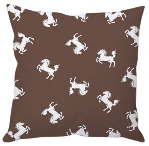 White Horse Printed Cushion Cover