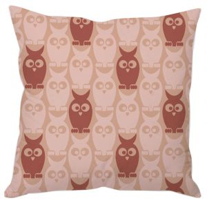 Pink Owl Pattern Cushion Cover