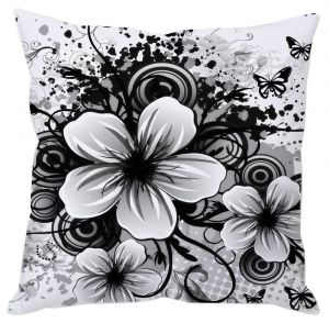 Big White Flower Cushion Cover
