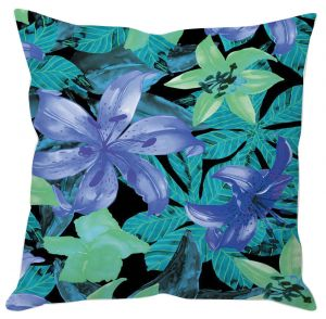 Fluorescent Blue Flowers Cushion Cover
