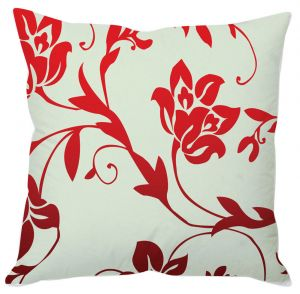 White And Red Floral Cushion Cover