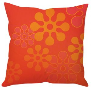 Orange Digital Floral Cushion Cover