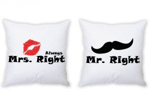 Stybuzz Mr. Right And Mrs. Always Right Couple Cushion Covers