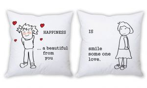 Stybuzz Happiness Is Loved Ones Smile Couple Cushion Covers